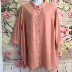 Fall Blouse 3/4 Sleeve Some Stretch NEW 34W 36W